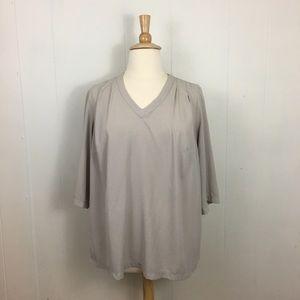 Eloquii Taupe 1/2 Sleeve V-Neck Blouse